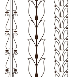 Vintage decorative set outline black floral vector
