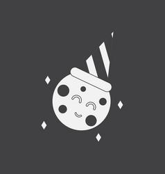 White icon on black background happy planet vector