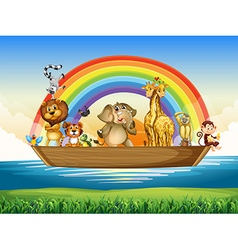 Wild animals riding on rowboat vector image