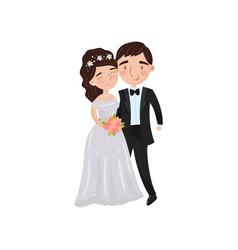 beautiful elegant wedding love couple embracing vector image