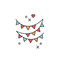 Festive garlands icon colored flag symbol of a vector