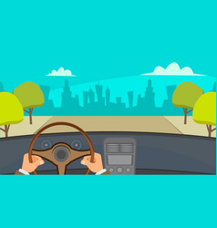 hands driving car city traffic jam urban vector image