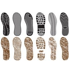 set of footprints vector image vector image