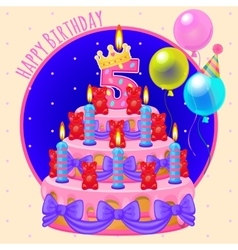 Holiday cake with candles and balloons vector image