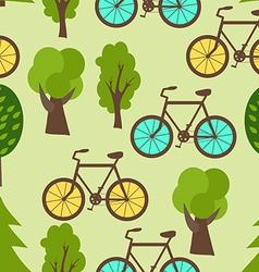 Seamless Pattern with Park Bicycles and Trees vector image