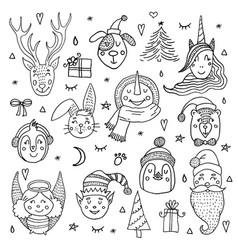 set of cute cartoon christmas characters vector image vector image