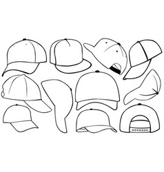set of different caps vector image
