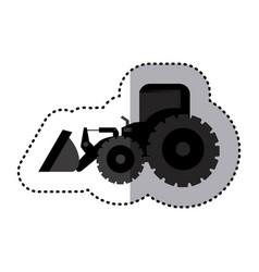 sticker monochrome tractor loader building machine vector image