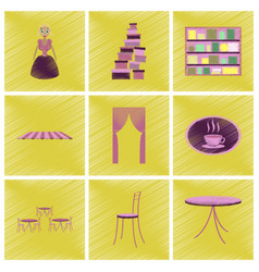 assembly flat shading style icons interior vector image