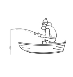 Fisherman silhouette in a boat on the white vector image