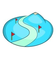 Ski slope of the snow mountain icon cartoon style vector image