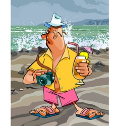cartoon man tourist with a camera vector image vector image