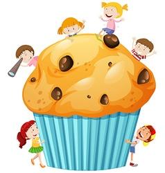 Children around giant muffin vector image
