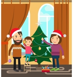 Family celebrates winter holidays vector image vector image