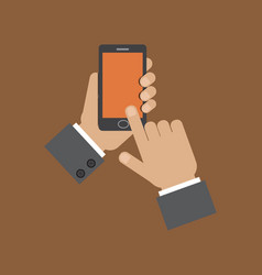 hand holding smart phone and touching screen vector image vector image