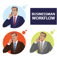 round icons set with businessmen talking on phone vector image vector image