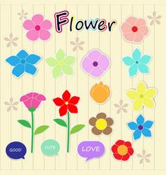 sticker flower cartoon cute color icon vector image vector image