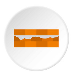 wall of bricks icon circle vector image