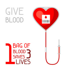 1 bag of blood saves 3 lives medical and vector
