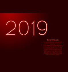 2019 number new year text from glowing red neon vector image