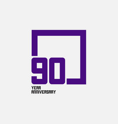 90 year anniversary square template design vector