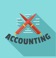 accounting pen logo flat style vector image