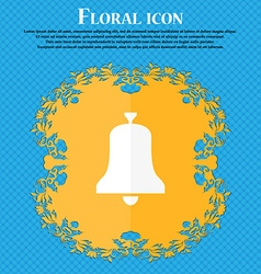 Alarm bell icon Floral flat design on a blue vector