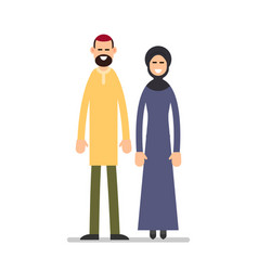 Arab couple arabic man and woman in traditional vector