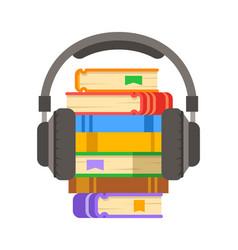 Audio book and headphones flat vector