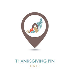 autumn cornucopia mapping pin icon harvest vector image