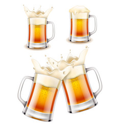 beer mug 3d photo realistic set vector image