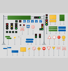 big realistic set of road signs and traffic lights vector image