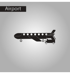 Black and white style icon airplane gangway vector