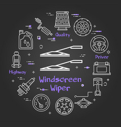 black linear banner of windscreen wipers vector image
