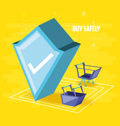 Buy safely online with shield vector
