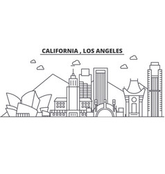 california los angeles architecture line skyline vector image