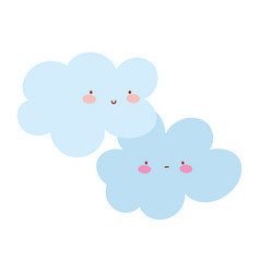 cartoon clouds comic character climate isolated vector image