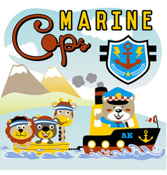 Cartoon marine police patrol with cute animals vector