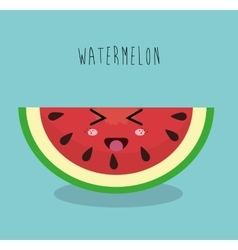 cartoon watermelon sliced fruit facial expression vector image