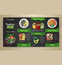Chalk drawing vegetarian menu design vector