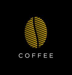 Coffee seed line art logo design vector