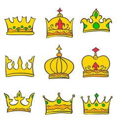 Collection gold crown doodle set vector