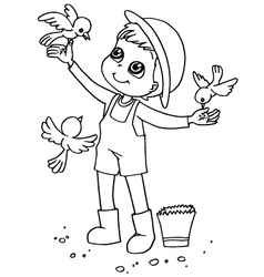 Coloring book child feeding birds vector