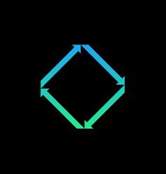 creative symmetrical arrows logo icon isolated on vector image