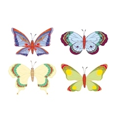 Cute cartoon butterflies set vector image vector image