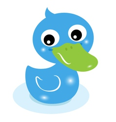 Cute little blue rubber duck isolated on white vector