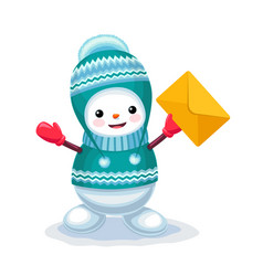 cute snowman with a letter envelope on his hand vector image