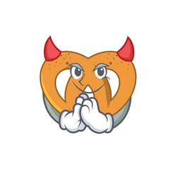 Devil pretzel mascot cartoon style vector