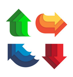 different direction and colors arrows set flat vector image