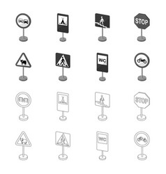 Different types of road signs outlinemonochrome vector